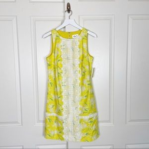 Eliza J Yellow Floral Lace Accent Shift Dress NWT
